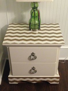 Chevron nightstand, furniture rehab, furniture redo, furniture DIY, furniture makeover - more pics and info at www.facebook.com/LexieandtheChi
