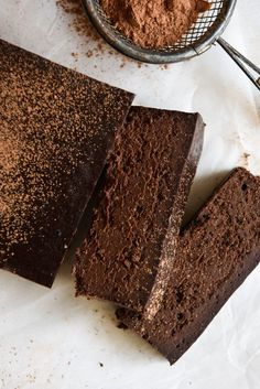 Four Ingredient Chocolate Fudge Cake. Simple, delicious and free from gluten, grains, dairy and nuts. Enjoy.