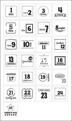 25 Numbers Label by sweetwaterscrapbook on Etsy, $9.99. Would make an adorable Advent calender.