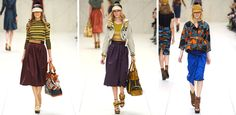 Modest looks from spring 2012 Burberry show.