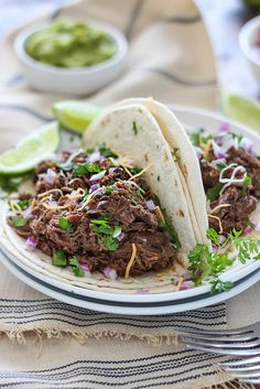 These slow cooker shredded beef tacos are summer slow cooking at its best! Pair it with your favorite toppings. Crockpot Recipes Mexican, Crockpot Dessert Recipes, Beef Recipes, Dinner Recipes, Healthy Recipes, Slow Cooker Pasta, Slow Cooker Beef, Slow Cooker Recipes, Slow Cooker Shredded Beef