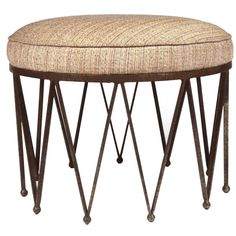 """Wrought Iron """"Crown"""" Upholstered Pouf"""