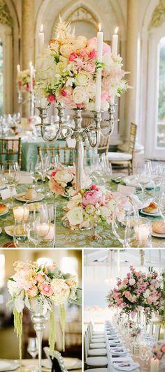 Centros de mesa altos para bodas. Candelabro clasico