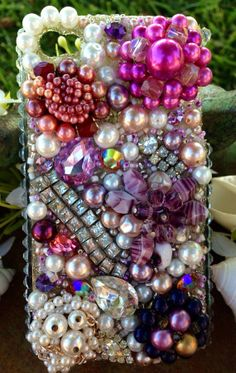 iPhone 4/4S Bling Case Lovely Lavender and Pearl by Kianaskases, $78.00