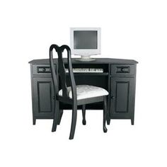 Home Office Corner Computer Desk (Black) in Washed Ebony