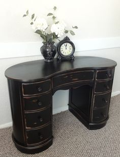 Black kidney bean desk, distressed...GORGEOUS! this lady is amazing!