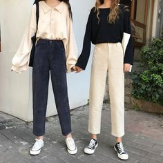 Buy Shopherd Cropped Straight Cut Corduroy Pants | YesStyle Kpop Outfits, Korean Outfits, Fashion Outfits, Easy Style, Desire Clothing, Straight Cut Pants, Cute Outfits With Jeans, Cozy Fashion, Corduroy Pants