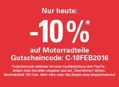 Ebay: Zehn Prozent Rabatt auf Motorradteile für einen Tag https://www.discountfan.de/artikel/technik_und_haushalt/ebay-zehn-prozent-rabatt-auf-motorradteile-fuer-einen-tag.php Biker kommen an diesem Donnerstag bei Ebay voll auf ihre Kosten: Noch bis Mitternacht lockt ein Rabatt von pauschal zehn Prozent auf Motorradteile. Vorausseztung ist die Zahlung via Paypal. Ebay: Zehn Prozent Rabatt auf Motorradteile für einen Tag (Bild: Ebay.de) Um den Rabatt von zehn Prozent ...