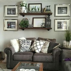 Shelving Cool Shelves, Shelving, Brown Leather Couch Living Room, Picture Arrangements, Rustic Design, Apartment Ideas, Farmhouse Decor, Living Room Decor, Master Bedroom