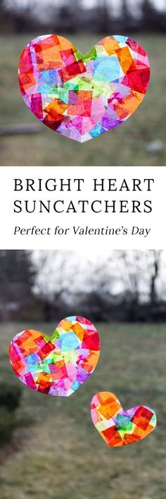 Kids of all ages will enjoy learning how to make pretty Rainbow Heart Suncatchers with tissue paper and glue, perfect for Valentine's Day! Such an easy Valentine's Day craft for kids! #valentinesday #preschoolcrafts #craftsforpreschoolers #valentines #easycraftsforkids #craftsforkids #kidscrafts #kidscraftseasy #valentinesdaycrafts #heartcrafts #suncatchers