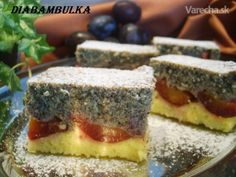 Tvarohovo-slivkový koláčik s makom (fotorecept) - recept Czech Recipes, Something Sweet, Tiramisu, Cheesecake, Deserts, Food And Drink, Cookies, Crack Crackers, Cheese Cakes