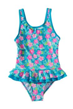 Little Girls One Piece Floral Print Ruffle Swimsuit