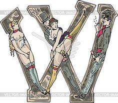Erotischer Buchstabe W - Vektorgrafik