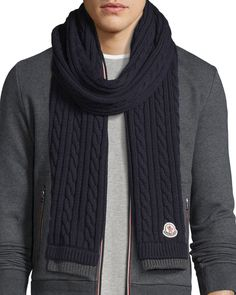 Men's Bicolor Wool Cable-Knit Scarf Mens Scarf Knitting Pattern, Mens Knitted Scarf, Crochet Scarf Easy, Knit Cowl, Knitting Designs, Cable Knit, Men Scarf, Wool Scarf, Crochet Hats