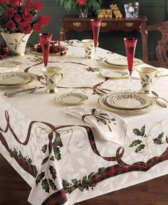 AmazonSmile - Lenox Holiday Nouveau Tablecloth, 60 by-104-Inch Oblong/Rectangle, Ivory -