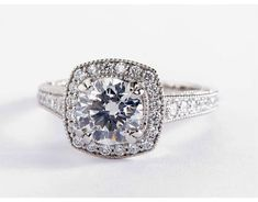 1.5 Carat Diamond in the Blue Nile Studio Victorian Halo Engagement Ring | Blue Nile