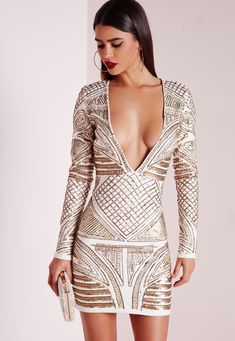 Missguided - Premium Plunge Embellished Bodycon Dress Cream #bodycondress
