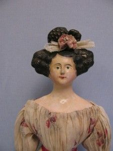 Early Apollo Top Knot Lady Doll Paper Mache Milliner's from turnofthecenturyantiques on Ruby Lane Antique Wax, Antique Toys, Victorian Dolls, Vintage Dolls, Clay Dolls, Wooden Dolls, Doll Head, Top Knot, Apollo