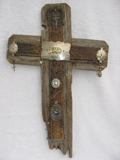 Rustic slanted cross crooked cross recycled wood by AnnDanCes, $70.00