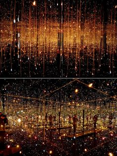 Fireflies on the Water (2002), by Yayoi Kusama.    Fireflies on the Water isan installation made of 150 lights, mirrors and water.  It offers an out-of-this-world experience from the confines of a modest room paneled with mirrors and adorned with 150 tiny beads of light deliberately suspended throughout the compact space. Upon entering the room, there's an illusionary effect that gives the impression of infinite space reflected on all sides and in the two inches of water that flows below.