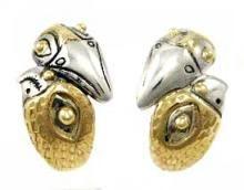 Larry Taranoff Style 'Love Birds' Earrings in Sterling Silver and 14k Gold