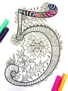 Harrington Font – Printable Zentangle Alphabet & Number Coloring Pages Doodles Zentangles, Zentangle Patterns, Sharpie Art, Number 5, Letter Art, Letters And Numbers, Art Plastique, Adult Coloring Pages, Doodle Art