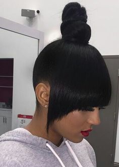 Bun And Bangs Hairstyle With Weave : bangs, hairstyle, weave, Ponytails, Styles, Ideas, Natural, Styles,, Beauty