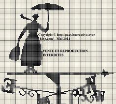 Grille gratuite point de croix : Mary Poppins 2 Free