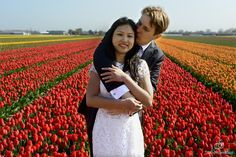 Orange, yellow and red tulips in the fields at de Keukenhof gardens in the Netherlands for a sweet engagement shoot. www.traciwhiteweddings.com