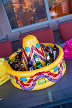 Shoutout to @Pamela Blythe for pinning this awesome inflatable Sombrero Cooler! What a fun way to present the drinks to your party guests. #CincoAvocados