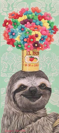 """Fiesta Sloth"" -Heather Gauthier Art Original Sloth Acrylic Painting"