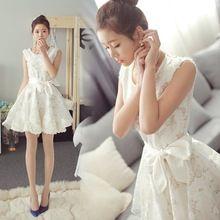 Vestido, mujer verano estilo coreano impresión Floral vestido de tirantes del partido del cordón blanco de noche elegante Vestidos de Mujer traje(China (Mainland))