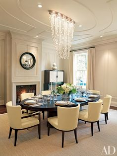 Fireplace Dining Room Decor – Before and After Dining Room Design Photos | Architectural Digest