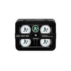 Team Golf Oakland Athletics 4-Ball Tin Gift Set