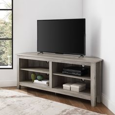 Gray Wash 58 inch Transitional Wood Corner TV Stand - Essential | RC Willey Furniture Store