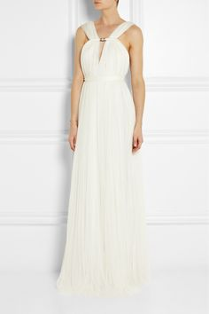 Lanvin|Ruched silk-blend tulle gown|NET-A-PORTER.COM