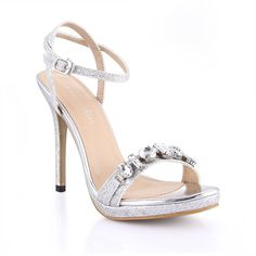 Dolphin Women's Rhinestone Open Toe High Heel Sandals with Ankle Strap Wedding Dress Pumps Prime ** Want to know more, click on the image.
