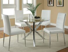 447da12a84f Erika Modern Round Glass Table with White Chairs
