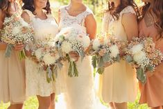 vintage blush grey ivory wedding flower bouquets utah wedding florist calie rose www.calierose.com