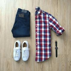 Like the big plaid with dark jeans