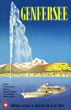 """CGN, Genfersee, Compagnie Générale de Navigation sur le Lac Léman by Dutoit A.r. / 1957 Swiss travel poster for the """"Compagnie Générale de Navigation sur le lac Léman"""" (C.G.N.) the steamboat company of the Lake of Geneva. In the background, the city of Geneva and the Mont-Blanc."""