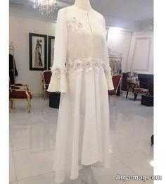 مدل مانتو شیک و خاص برای عقد محضری Hijab Fashion, White Dress, Bride, Sewing, Blouse, Coat, Bracelets, Model, Clothes
