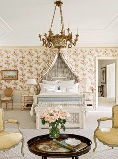 The master bedroom is punctuated by a Piedmontese chandelier from Scott Barnes Antiques; the carpeting is by Patterson Flynn Martin. Architect: Addison Mizner Designer: David Easton Inc. Parisian Decor, Baroque Decor, Guest Bedrooms, French Bedrooms, Master Bedroom, Beautiful Bedrooms, Beautiful Interiors, Bedroom Seating, Bedroom Decor