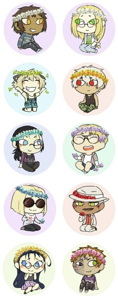 Millennium -The Hellsing characters with cute clothes and flower crowns -//- (Jan Valentine, Luke Valentine, Schrodinger, Captain Hans Günsche, young Walter C. Dornez, The Major, Doctor Avondale Napyeer, Tubalcain Alhambra, Lieutenant Rip Van Winkle & Zorin Blitz)