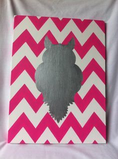 Hey, I found this really awesome Etsy listing at http://www.etsy.com/listing/162498458/owl-silhouette-canvas-art-with-pink-and
