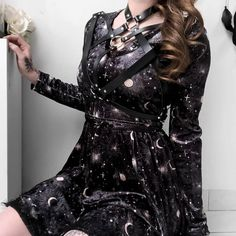 "e16d752e373 Rags n Rituals ⛤ on Instagram: ""@kibbipixel wearing our 'Moonlight' dress.  Tap to shop!! 🌙⭐ FREE shipping worldwide! . . . #goth #gothic  #alternativegirl ..."