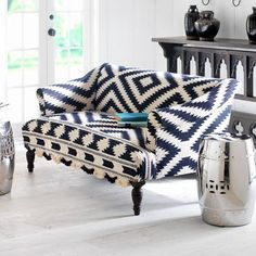 contemporary styled upholstered furnitures with tribal ikat prints