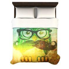 iRuz33 Owl Hoot Duvet bed Cover available from kessinhouse.com