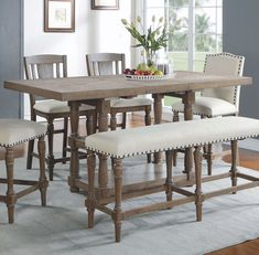 Fortunat Counter Height Extendable Dining Table - Dining Set - Ideas of Dining - Rustic antique kitchen idea. Tall Kitchen Table, Counter Height Dining Sets, Kitchen Island With Seating, Counter Height Dining Table, Extendable Dining Table, Dining Bench, Tall Dining Room Table, Round Dining, Kitchen Dining