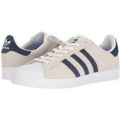 adidas Skateboarding Superstar Vulc ADV (Crystal White/Collegiate... (1.066.160 IDR) ❤ liked on Polyvore featuring shoes, athletic shoes, adidas shoes, navy athletic shoes, striped shoes, crystal shoes and traction shoes